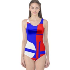 Blue, red, white design  One Piece Swimsuit