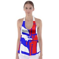 Blue, Red, White Design  Babydoll Tankini Top