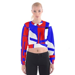 Blue, red, white design  Women s Cropped Sweatshirt