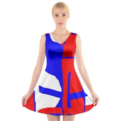 Blue, red, white design  V-Neck Sleeveless Skater Dress