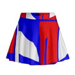 Blue, red, white design  Mini Flare Skirt