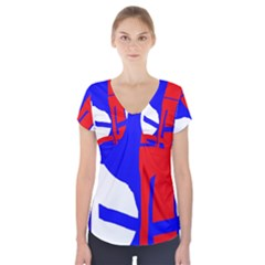 Blue, Red, White Design  Short Sleeve Front Detail Top