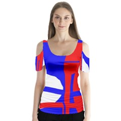 Blue, red, white design  Butterfly Sleeve Cutout Tee