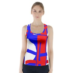 Blue, red, white design  Racer Back Sports Top