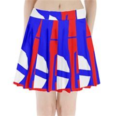 Blue, red, white design  Pleated Mini Mesh Skirt