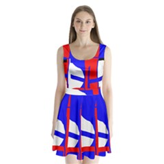 Blue, red, white design  Split Back Mini Dress