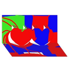 Abstract hart Twin Hearts 3D Greeting Card (8x4)
