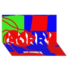 Abstract hart SORRY 3D Greeting Card (8x4)