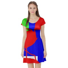 Abstract hart Short Sleeve Skater Dress