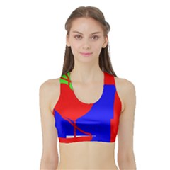 Abstract hart Sports Bra with Border
