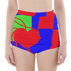 Abstract hart High-Waisted Bikini Bottoms