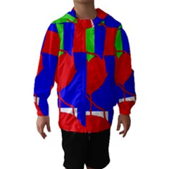 Abstract hart Hooded Wind Breaker (Kids)