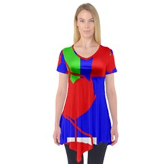 Abstract hart Short Sleeve Tunic