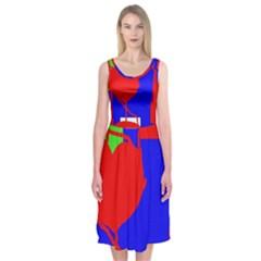 Abstract hart Midi Sleeveless Dress