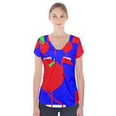Abstract Hart Short Sleeve Front Detail Top