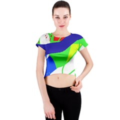 Colorful abstraction Crew Neck Crop Top