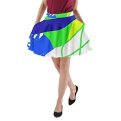 Colorful Abstraction A Line Pocket Skirt