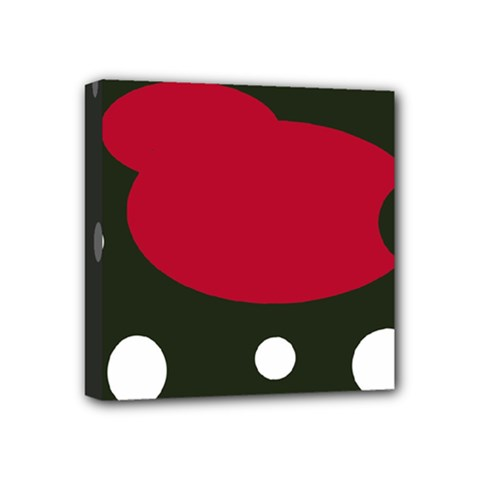 Red, black and white abstraction Mini Canvas 4  x 4