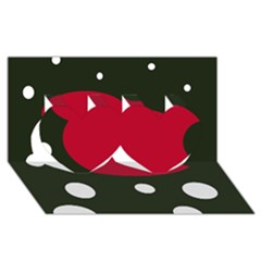 Red, Black And White Abstraction Twin Hearts 3d Greeting Card (8x4)