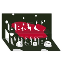 Red, black and white abstraction Best Wish 3D Greeting Card (8x4)