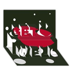 Red, black and white abstraction Get Well 3D Greeting Card (7x5)