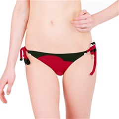 Red, black and white abstraction Bikini Bottom