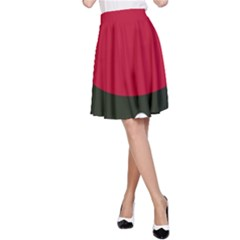 Red, black and white abstraction A-Line Skirt