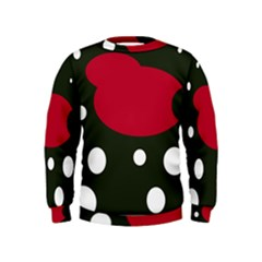 Red, black and white abstraction Kids  Sweatshirt