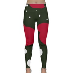Red, black and white abstraction Yoga Leggings