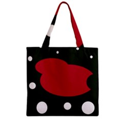 Red, black and white abstraction Zipper Grocery Tote Bag