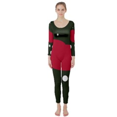 Red, black and white abstraction Long Sleeve Catsuit