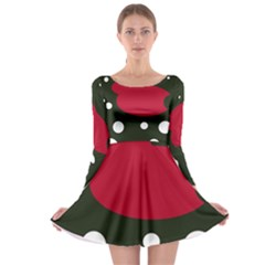 Red, black and white abstraction Long Sleeve Skater Dress