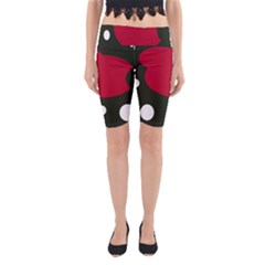 Red, black and white abstraction Yoga Cropped Leggings