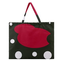 Red, Black And White Abstraction Zipper Large Tote Bag