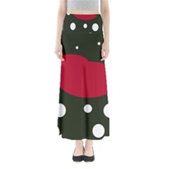 Red, Black And White Abstraction Maxi Skirts