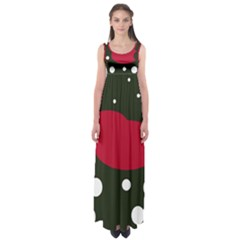 Red, Black And White Abstraction Empire Waist Maxi Dress