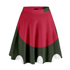 Red, Black And White Abstraction High Waist Skirt