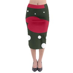 Red, black and white abstraction Midi Pencil Skirt