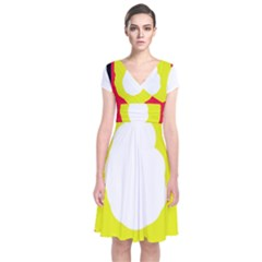 Colorful Abstraction Short Sleeve Front Wrap Dress
