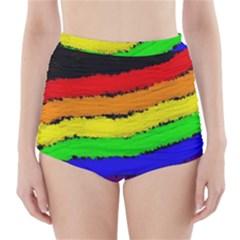 Rainbow High-Waisted Bikini Bottoms