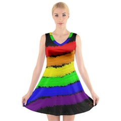 Rainbow V-Neck Sleeveless Skater Dress