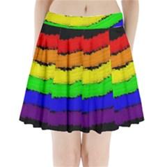 Rainbow Pleated Mini Mesh Skirt
