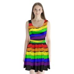 Rainbow Split Back Mini Dress