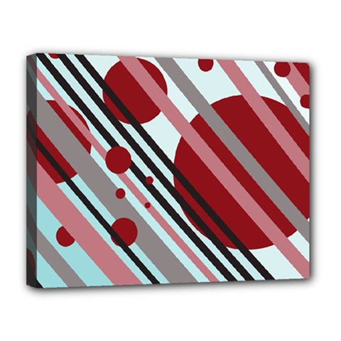 Colorful lines and circles Canvas 14  x 11