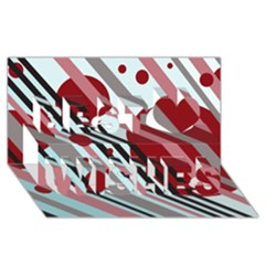 Colorful lines and circles Best Wish 3D Greeting Card (8x4)