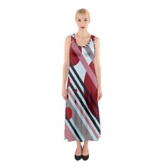 Colorful lines and circles Sleeveless Maxi Dress