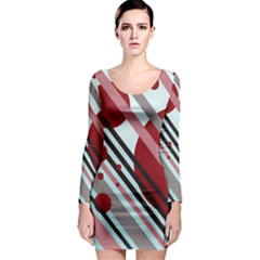 Colorful lines and circles Long Sleeve Bodycon Dress