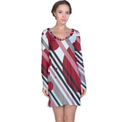 Colorful lines and circles Long Sleeve Nightdress