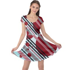 Colorful lines and circles Cap Sleeve Dresses