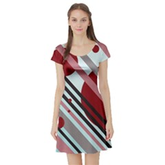 Colorful lines and circles Short Sleeve Skater Dress